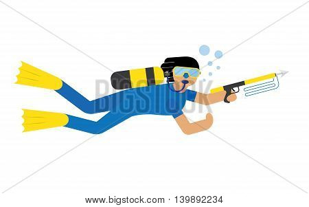Scuba diver isolated extreme diving sport. Cartoon diver isolated