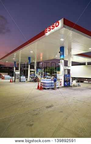 PATTAYA, THAILAND - CIRCA FEBRUARY, 2016:  Esso station at twilight. Esso is a trade name for ExxonMobil and its related companies.