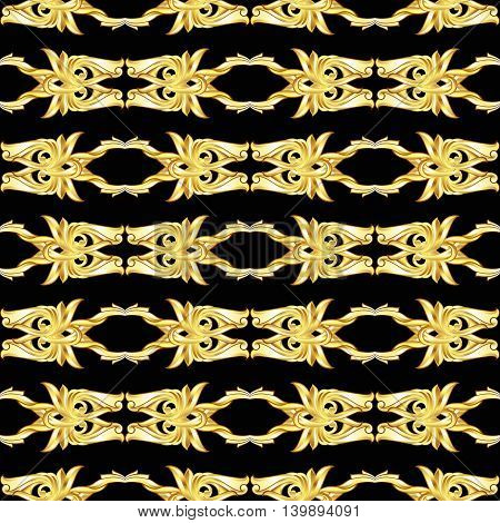 Golden horizontal symmetry patterns on the black background