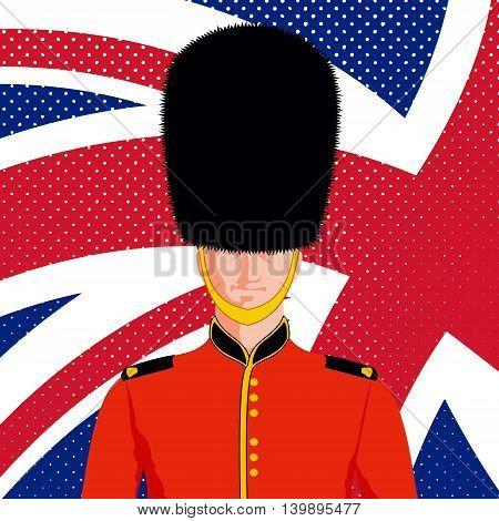 Royal British guard. Man in traditional uniform and flag United Kingdom.