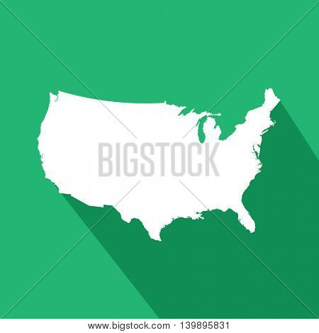 United States of America Map on green