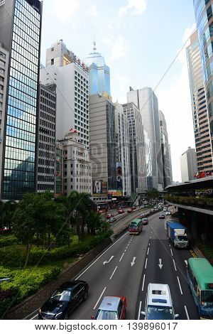 HONG KONG - NOV 9: Hong Kong Connaught Road Central at the center of Financial District on Nov 9, 2015 in Hong Kong. Connaught Road is a major road on the north shore of Hong Kong Island.