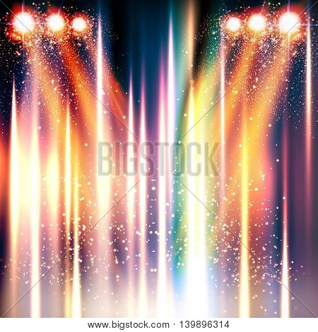 stage, light, spotlights shining background easy all editable