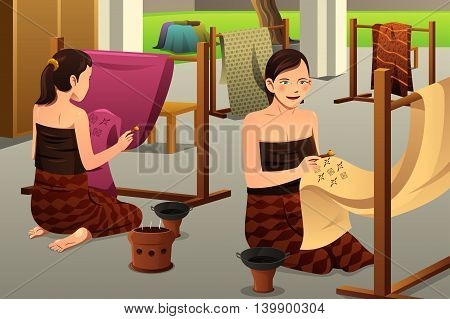 A vector illustration of woman using chanting and wax to make batik