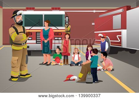 A vector illustration of school kids visiting a fire station for education concept