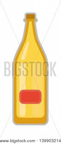 Beer bottle on white background and vector beer bottle. Alcohol drink bottle beverage liquid cold and pub lager beer bottle. Bottle of fresh beer