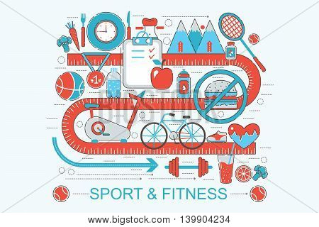 Modern Flat thin Line design healthy fitness and sport concept for web banner website, presentation, flyer and poster