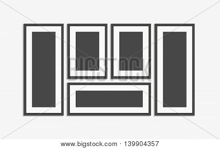 Realistic modern wall black picture frame vector set. Pictures template