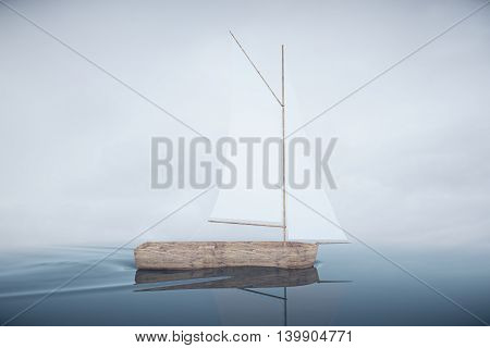 Wooden sailing boat on water. Dull sky background. 3D Rendering
