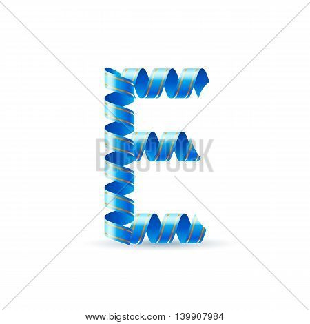 Letter E made of blue curled shiny ribbon