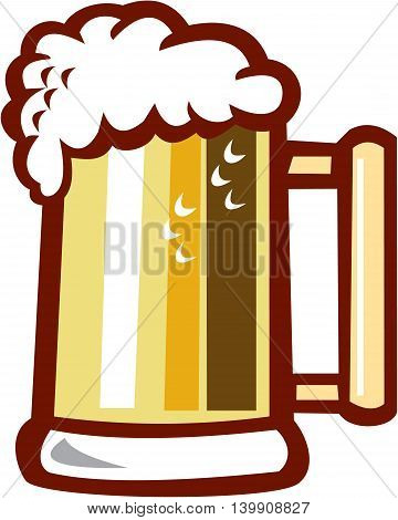 Illustration of a beer stein mug with beer foam on top set on isolated white background done in retro style.