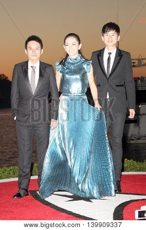 Li Weijia and Xie Na and Jason Zhang attend at the Star TreK Beyond during Comic Con on July 20, 2016 at the Embarcadero Marina Park South in San Diego, CA.