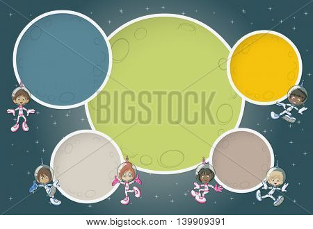 Astronaut cartoon children flying around colorful planets in the space background.