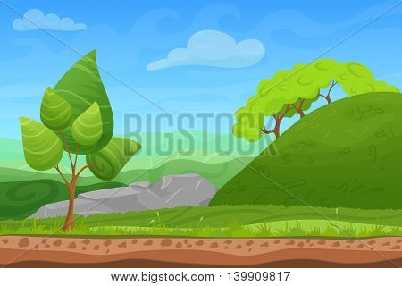 Cartoon color nature summer landscape in sun day with grass, trees, sky and mountains hills. Vector game style illustration. Background for games