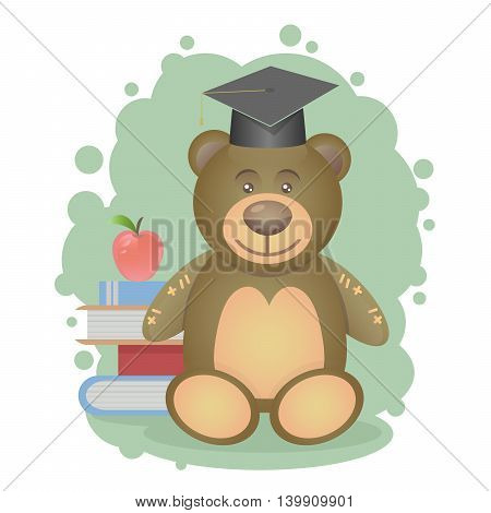 Teddy bear and scientist and delicious red apple on books