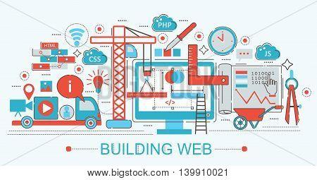 Modern Flat thin Line design Website building progress concept for web banner websites, presentation, flyer and poster