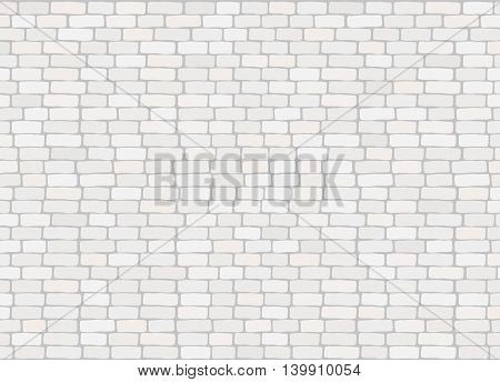 Elegant realistic trendy white brick wall background texture.