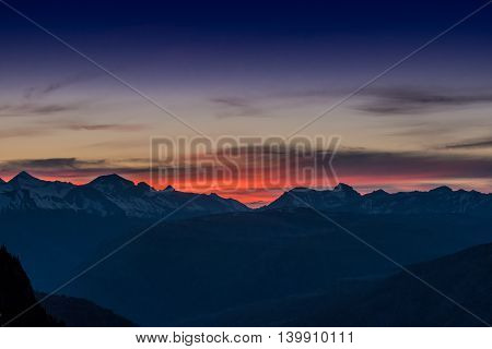 Sunset Over Camas Ridge in the Montana Rocky mountains