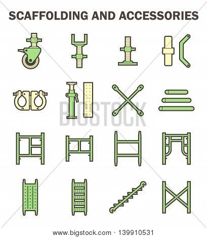 Vector of scaffolding and accessories icon sets design.