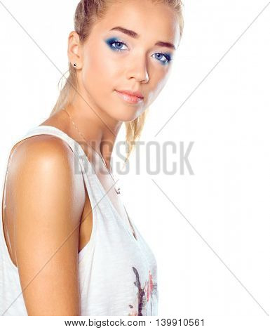 Attractive young woman full length portrait