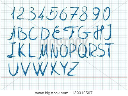 The letters and numbers written by hand in a school notebook. Brush Style Hand Draw Font Abc. Handwritten blue sketch alphabet on a sheet from a school notebook. Vector script