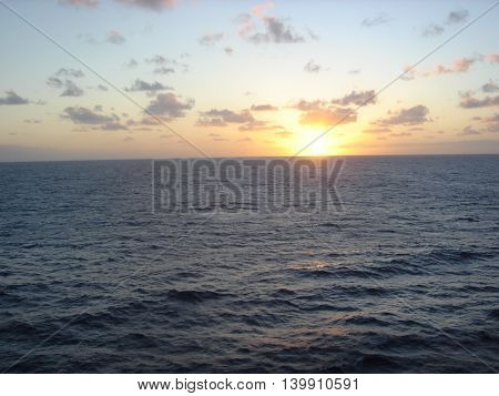 Sunset over the water in the Caribbean sea