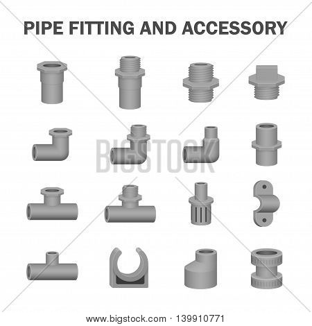 Vector of pipe fitting and accessory isolated on white background.