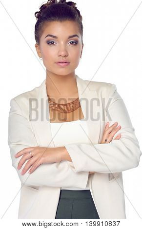 Young woman standing, isolated on white background