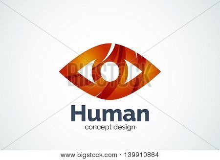 Abstract business company human eye logo template, sight or look concept - geometric minimal style, created with overlapping curve elements and waves. Corporate identity emblem