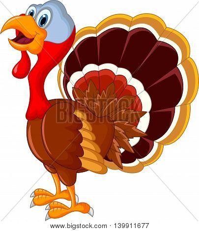 happy turkey cartoon standing for your design