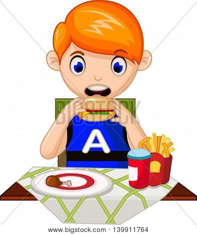 Illustration of a young boy eating in a fastfood restaurant