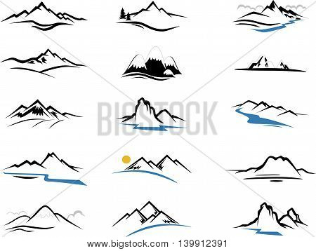 set of Mountains Icons cartoon for you design
