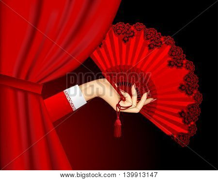 Female hand with open red fan emerging from behind the curtain on black background. Theatrical placard concept design. Vector illustration