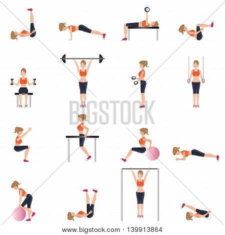 Fitness cardio exercise and equipment for woman sport isolated on white background Workout gymnasium sport fitness athletics healthy lifestylecharacter Vector illustration.