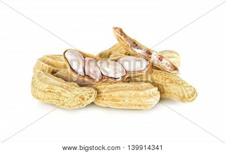 boiled peanut with shell on a white background