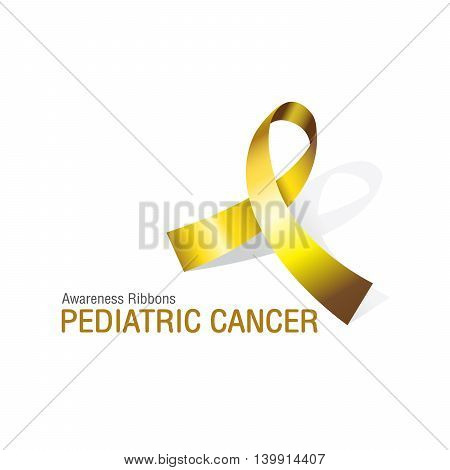 The Gold Awareness Ribbons of Pediatric cancer Vector illustration.