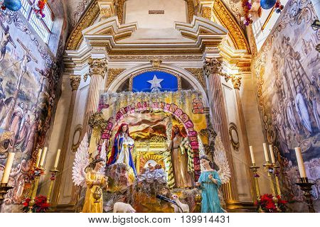 ATOTONILCO, MEXICO - DECEMBER 29, 2014 Chrstimas Creche Frescoes Sanctuary of Jesus Atotonilco Mexico. Built in the 1700s known as the Sistine Chapel of Mexico with Frescoes of Jesus Stories. Frescoes by Miguel Antonio Martinez between 1740 and 1775.