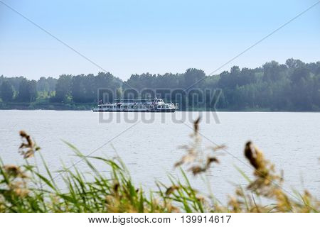 The river Berd Novosibirsk oblast Siberia Russia - July 25 2016: walking on a double-decked passenger river boat series Moscow 127