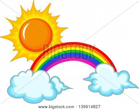 beauty sun, rainbow and cloud on white background