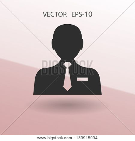 Flat icon of businessman