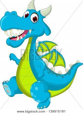 blue dragon cartoon walking for you design