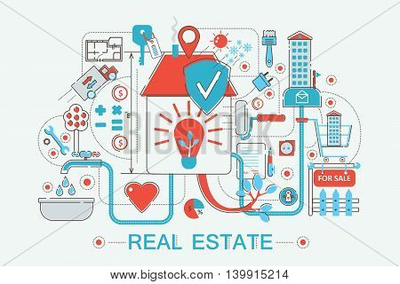 Modern graphic flat line design style infographics concept of Real estates with icons, for website, presentation and poster