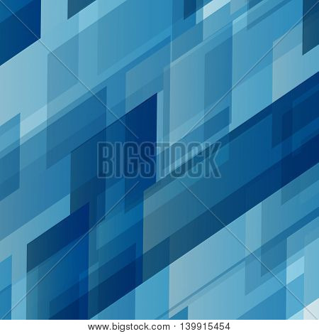 Abstract blue rectangles technology distorted background, stock vector