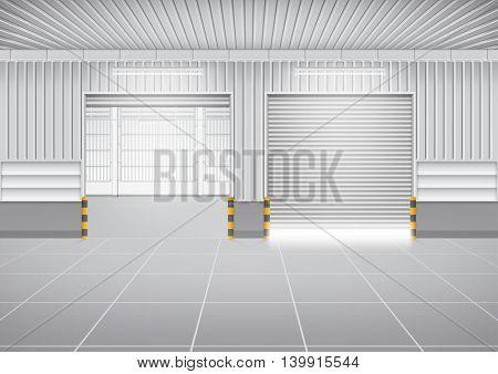Vector of shutter door or roller door and concrete floor outside factory building use for industrial background.