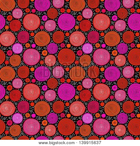 Red on black doodle spiral circles seamless pattern, vector background