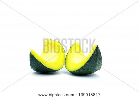 Group of small piece of green seedless asian pumpkin on white background.