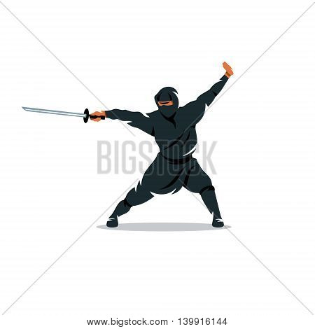 Warrior in black dress blade strikes. Isolated on a White Background