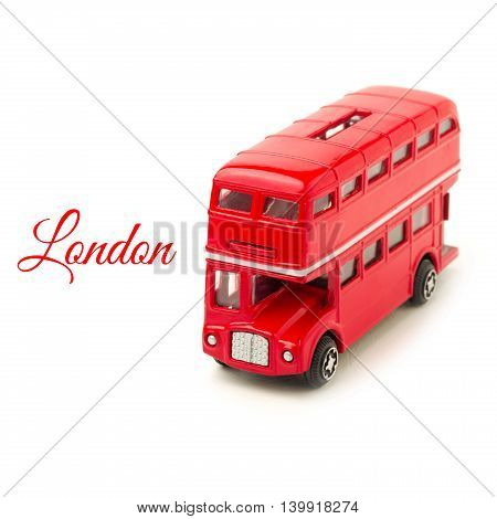 London bus money box toy isolated on white background