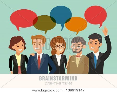 happy business team brainstorming vector cartoon illustration
