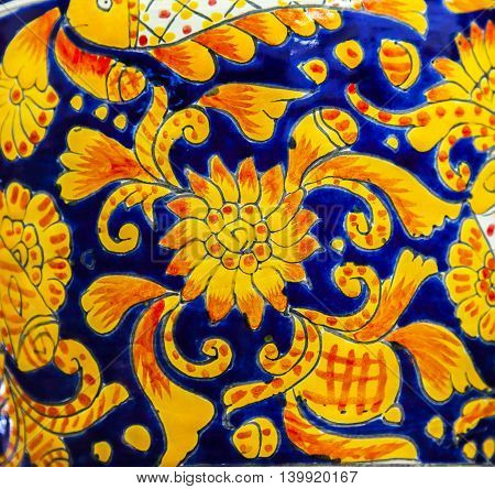 Colorful Souvenir Ceramic Orange Blue Pot Decoration Dolores Hidalgo Mexico. Dolores Hidalgo famous ceramic city Mexico